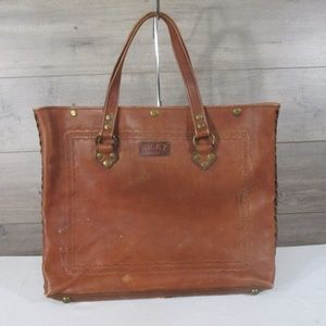 Lucky Brand Brown Leather Tote Handbag Purse